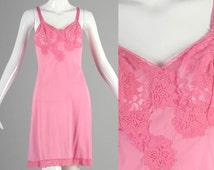 60s Slip 1960s Slip 60s Pink Slip Full Slip Lace Bust Hot Pink Full Slip Lace Applique Hem 60s Lingerie Sheer Bust Lace Bust Small
