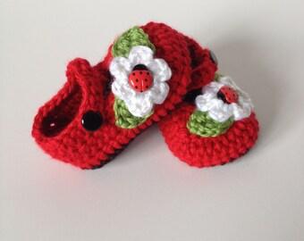 Crochet Baby Booties, Maryjanes, Ladybug, 0-3 Months