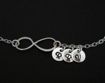 Infinity Bracelet. Personalized Sterling Silver Bracelet. 3 Silver Initial Charms. Infinity Love for Mom. Wife. Best Friends.Friendship Gift