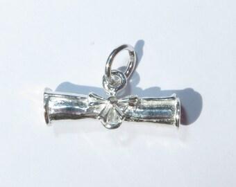 925 Genuine Silver Scroll Charm - 92.5% Sterling Necklace Weddings Christening Bridesmaid 21st 16 Birthday Gift Graduation Student Graduate