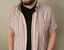 Vintage Tan Short Sleeve Button Down Shirt w/ Red and White Vertical Stripes Pattern