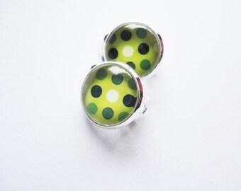 Earclips Dots green