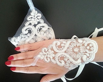 Bridal  Lace Gloves, fingerless gloves, bridal cuff, Silver and White, wedding bride, bridal gloves,  Wedding Accessory