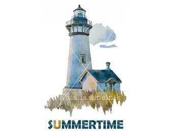 Summertime concept with lighthouse digital download from original watercolor marina clipart navy illustration