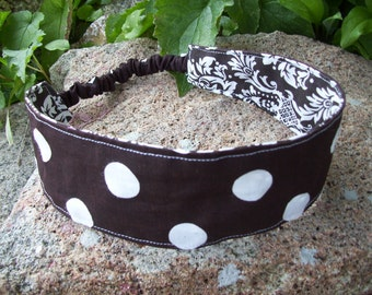 Brown & White Polka Dot Reversible Headband