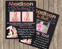 Chalkboard Baby Minnie Mouse 1st Birthday Invitation OR Thank you card Digital File