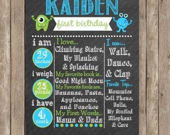 Little Monster First Birthday Chalkboard Custom Color Printable Poster