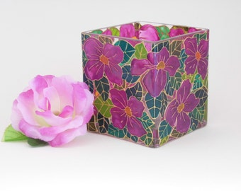 Hand Painted Glass Clematis Candleholder  in Pink and Green