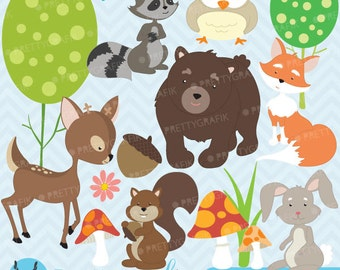 woodland animals clipart commercial use, vector graphics, digital clip art, digital images - CL576
