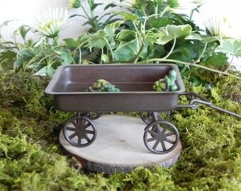 Fairy Garden Wagon miniature accessories with turtles for miniature garden or terrarium
