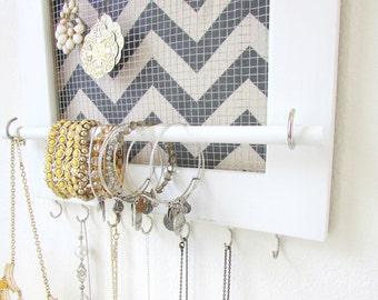 Jewelry Organizer  Jewelry Holder Chevron Frame 7 silver hooks & Jewelry Bar