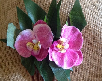 Tropical Flower, Silk Green Leaf With  Phalaenopsis Orchid Flower Hair Comb Or Alligator Clip!