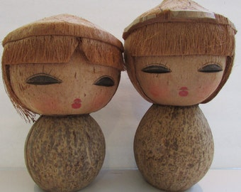 Vintage Coconut Shell Dolls Asian Tiki Kokeshi
