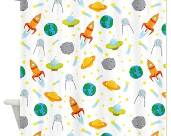 Custom Space Shower Curtain w/White-Standard & Extra long sizes available-Rocket Ship-Spaceship-Earth-Saturn-Asteroid-Shooting Stars-UFO