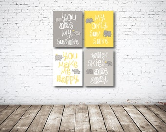 You Are My Sunshine CANVAS Set of Four-Yellow-White-Grey OR Choose Color-8x10-11x14-12x18-16x20-18x24-20x30-24x36-Nursery-Kids Room