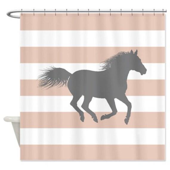 horse shower curtain rose smoke pink grey