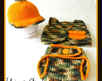 Crocheted Baby Hunting Hat, Vest and Diaper Cover/Photo Prop