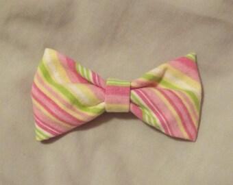 Pastel Striped Hair Bow