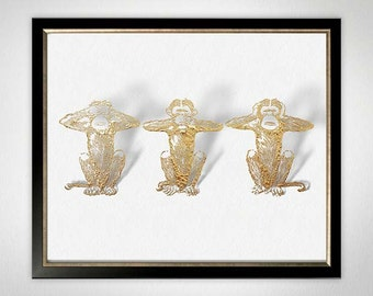 See No Evil Speak No Evil Hear No Evil, Chinoiserie Chic, Three Wise Monkeys, Hollywood Regency Art, Gold White Art,