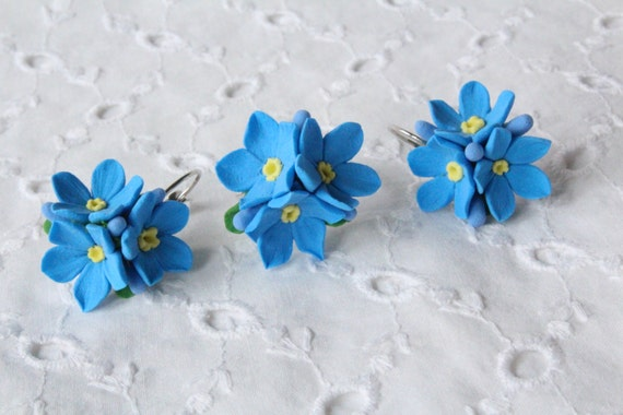 Make to order.   Earrings and ring polymer clay flowers.Forget-me-not .