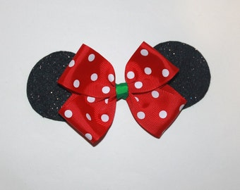 Red and Green Minnie Mouse Ears Hair Bow, Minnie Mouse Christmas Bow