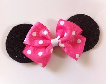 Minnie Mouse Ears Hair Bow, Pink Minnie Mouse Bow