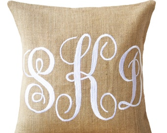 Burlap Monogram Pillows -Custom Monogram Pillow -Three Letters Monogram Pillows -Initial Cushion- Baby- Wedding Pillow-Gift For Mom Mothers