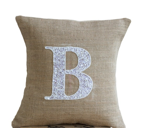 Burlap Throw Pillows Etsy : Items similar to Burlap Monogram Pillow - Customized Sequin Monogram throw pillow- Sequin Throw ...