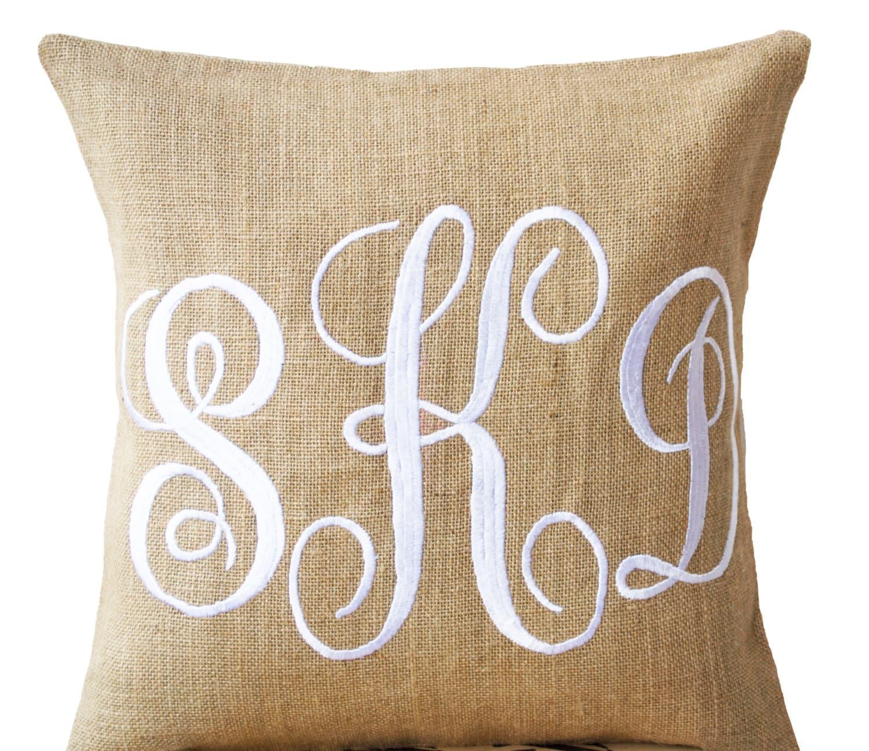 Monogram A Pillow: Burlap Monogram Pillows Custom Monogram Pillow Cursive Font