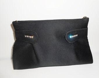 Black Evening Bag, Vintage Black Bag, Black Clutch Bag,Rhinestone Trim EB-0536