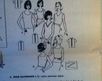 """Simplicity Vintage Top Pattern With Variations 6022 Size: 14, Bust 36"""", Waist 28"""", Hip 38"""""""