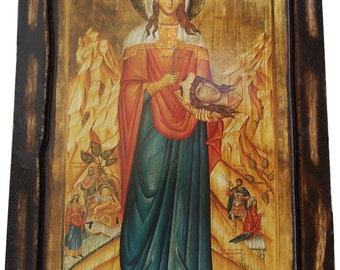 Saint St. Irene (full Body) - Orthodox Byzantine icon on wood handmade (22.5 cm x 17 cm)