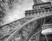 "Black and White Photography - Eiffel Tower leaves black and white Paris prints Paris photography architecture 5x7 8x10 11x14 ""Grande Paris"""