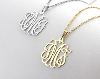 Modern Monogram Necklace in Silver / Bail