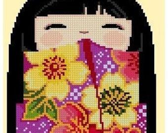 Cute Kokeshi Girl Doll 6 MiYuKi -Cross Stitch PDF Pattern