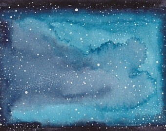 SALE 50% Abstract Painting 5x7 Celestial Cosmos Galaxy Stars Stardust Indigo Cerulean Blue Black Original Watercolor Wonders Series No. 3