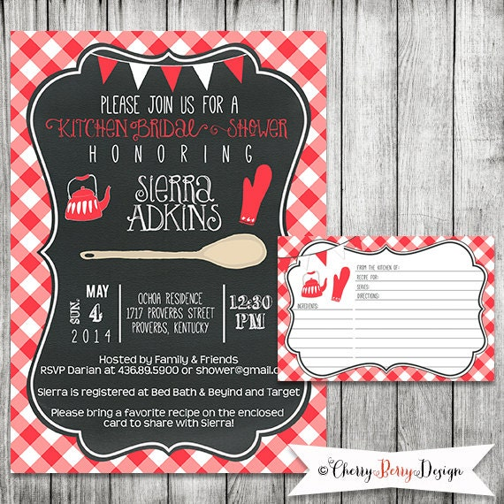 Chalkboard Kitchen Bridal Shower Invitation Printable File 5
