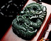 Natural drak Green jade hand-carved ancient Chinese dragon pendant