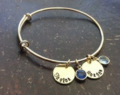 Custom Names Hand Stamped Bangle Bracelet - Gold Finish, Mom Jewelry, Grandma Gift, Mother's Day Gift, Personalized Metal
