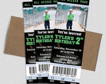 Hockey Ticket Birthday Invitation- Printable