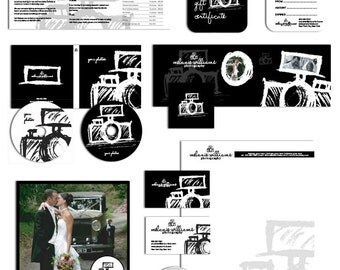 Photography Marketing set and photography contract business forms sketched camera black and white - all editable psd files