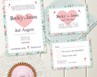 DIY Printable Wedding Invitation - Hankerchief Wedding Stationery Set - Invite, RSVP & Save The Date - Printable