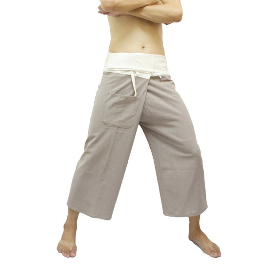 ON SALE Two Tone Thai Fisherman Pants In Khaki And By