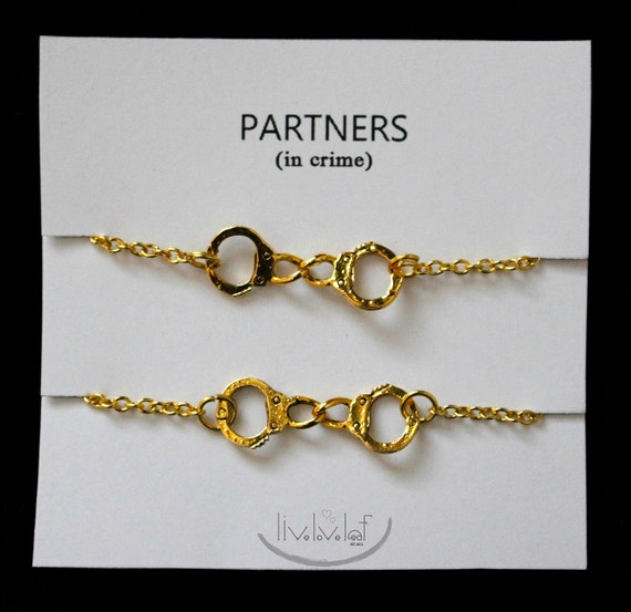 partners in crime matching best friends bracelets by