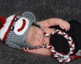 Crochet boy Sock Monkey hat photography prop infant boy hat photo prop crochet baby hat-Made to order