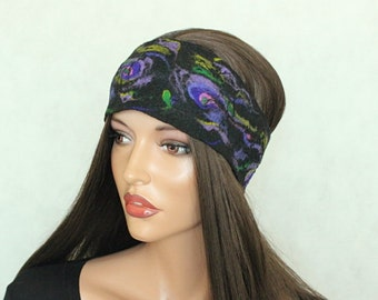 Black felted headband  Colorful felt headband Black, pink.violet, green, purple headgear