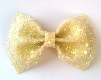 Mini Yellow Lemon glitter bow