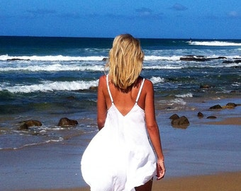 Loose Low Open Back Beach Top - White or Black Tahiti Tank