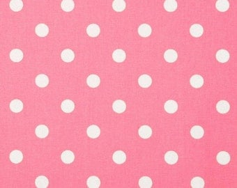 One Yard Baby Pink and white Polka Dot Fabric 100% Cotton
