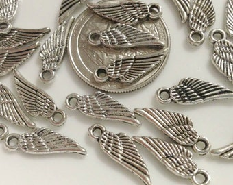 20 Antique Silver Small Angel Wing Charms
